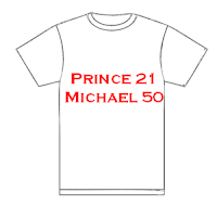 Michael Jackson sets to out-do Prince's record-breaking 21 gigs at the O2 Arena as depicted by this T-Shirt.