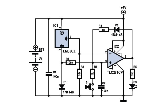 Electronic Hobby: Frost Detector Temperature Sensor Circuit