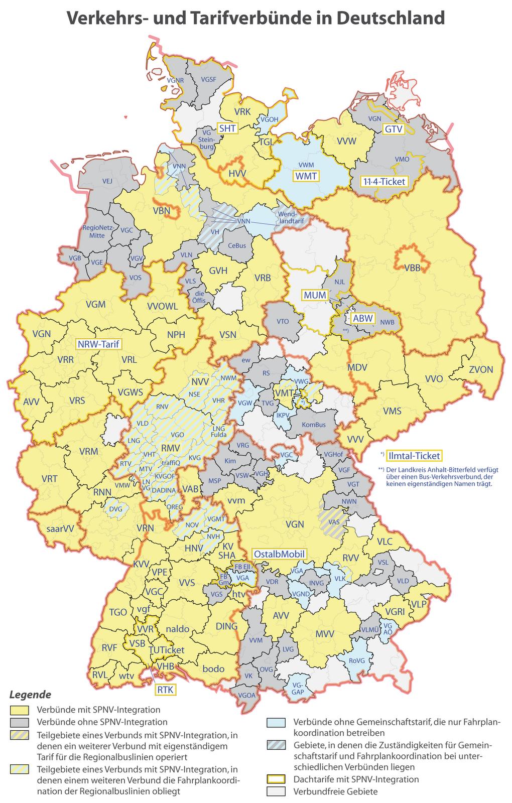 verkehrsverbünde deutschland karte Landkartenblog: Deutschlandkarte der Verkehrs  und Tarifverbünde