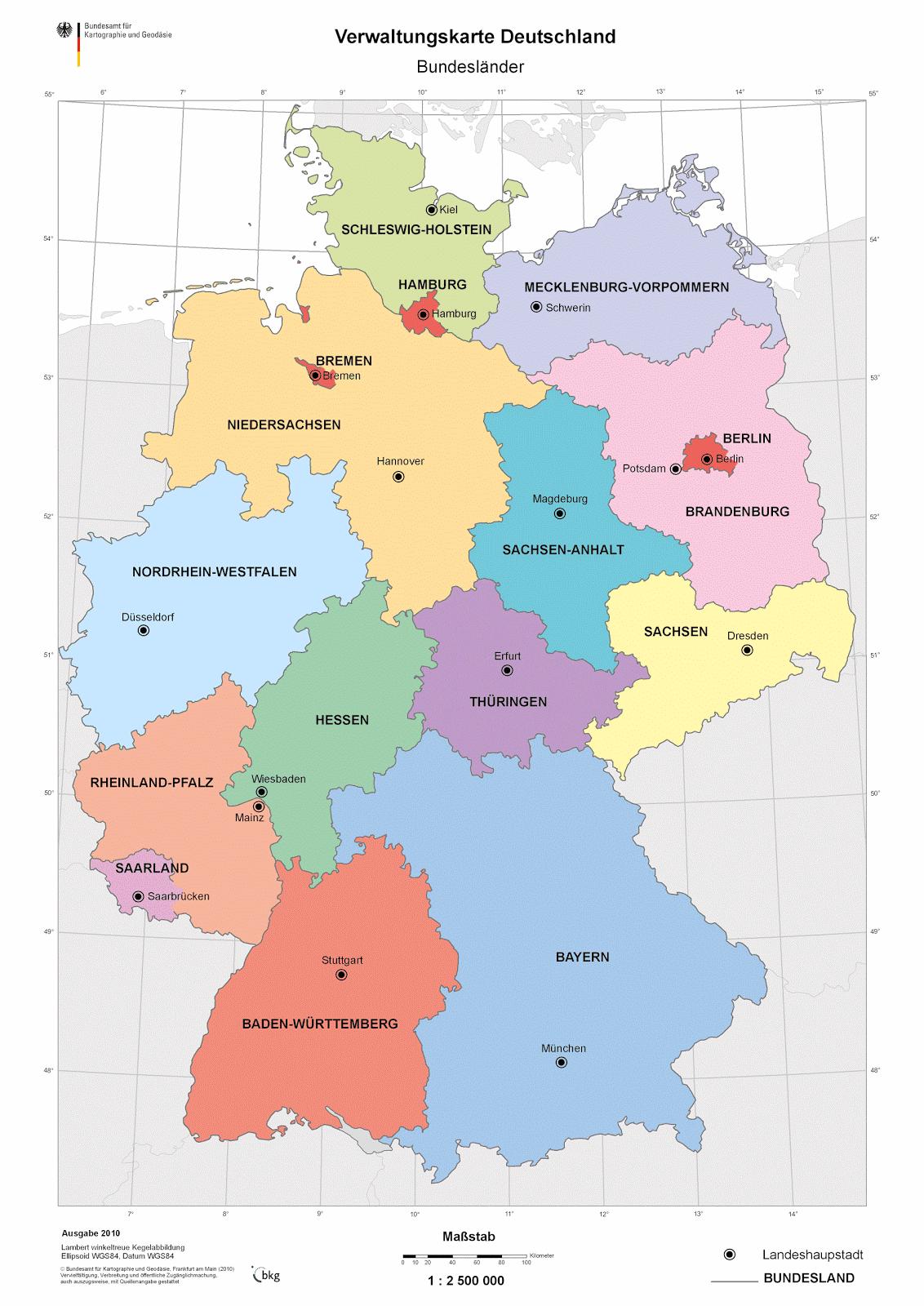 karte bundesländer zum ausdrucken Landkartenblog: Online: Verwaltungskarte Deutschland der Bundesländer