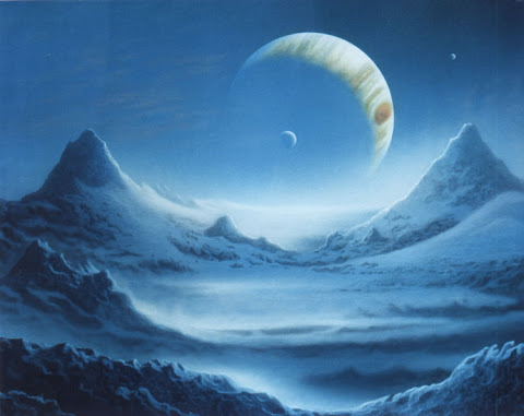 Andrew Stewart Space Art: Europa's Surface (Acrylic on Canvas)