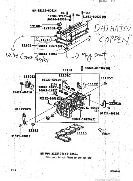 Kp Gasket Daihatsu Copen Engine View