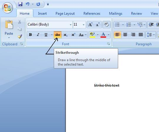 Image result for microsoft word strikethrough