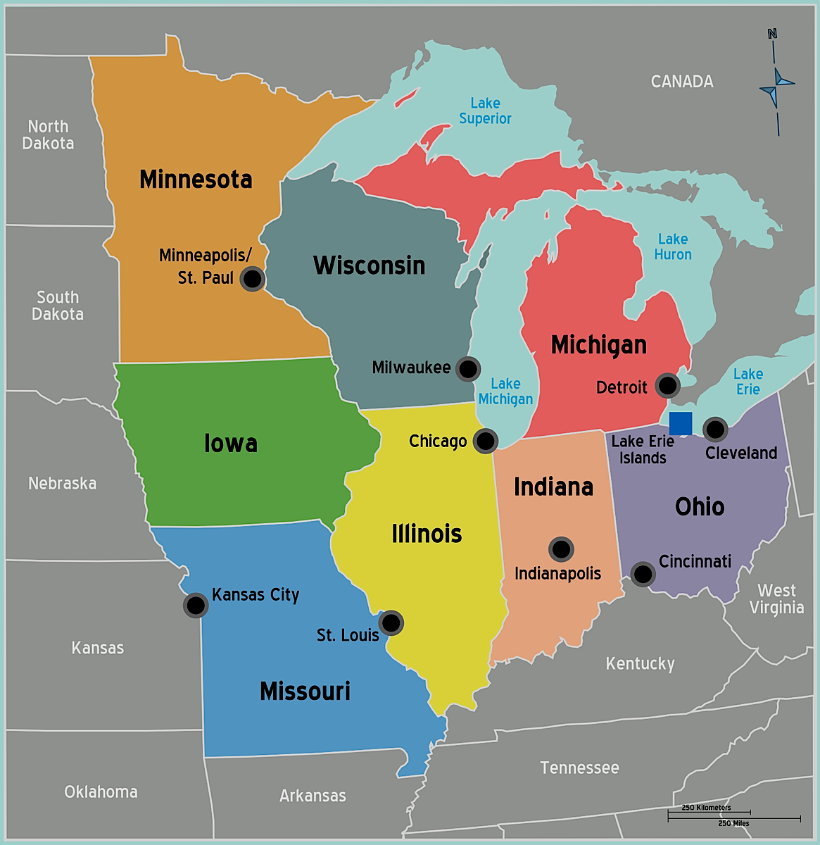 html us midwest region map games
