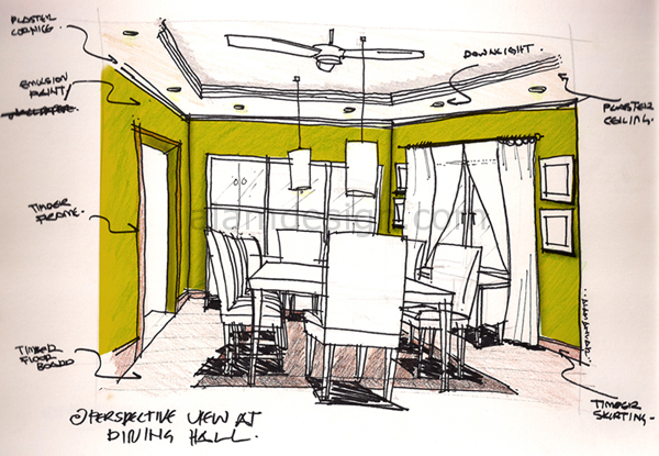 Perspective View At Dining Hall (Sketches And Color With Photoshop)