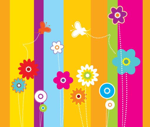 Free Colorful Flower Wallpaper Downloads: Retro Colorful Flowers Colorful Background Wallpapers