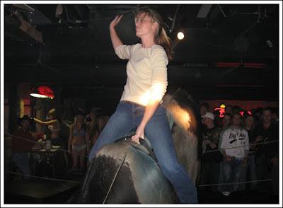 Sexy mechanical bull riding