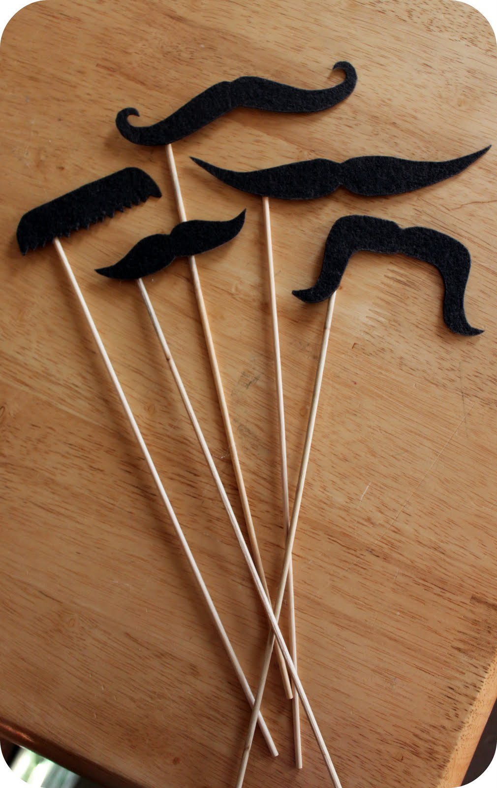 mustach template - now just glue i used hot glue your stick to the back of