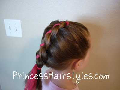 french twist braid with ribbon