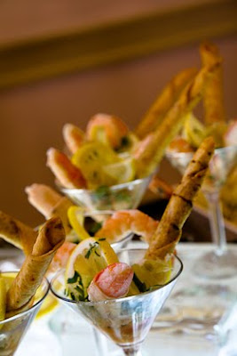 Shrimp in martini glasses served at Saz's Spring Wedding Showcase held at 1451 Renaissance Place