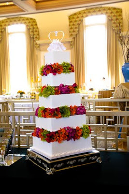 Sweet Perfections Bake Shoppe created a 5-tiered wedding cake for Saz's Spring Wedding Showcase