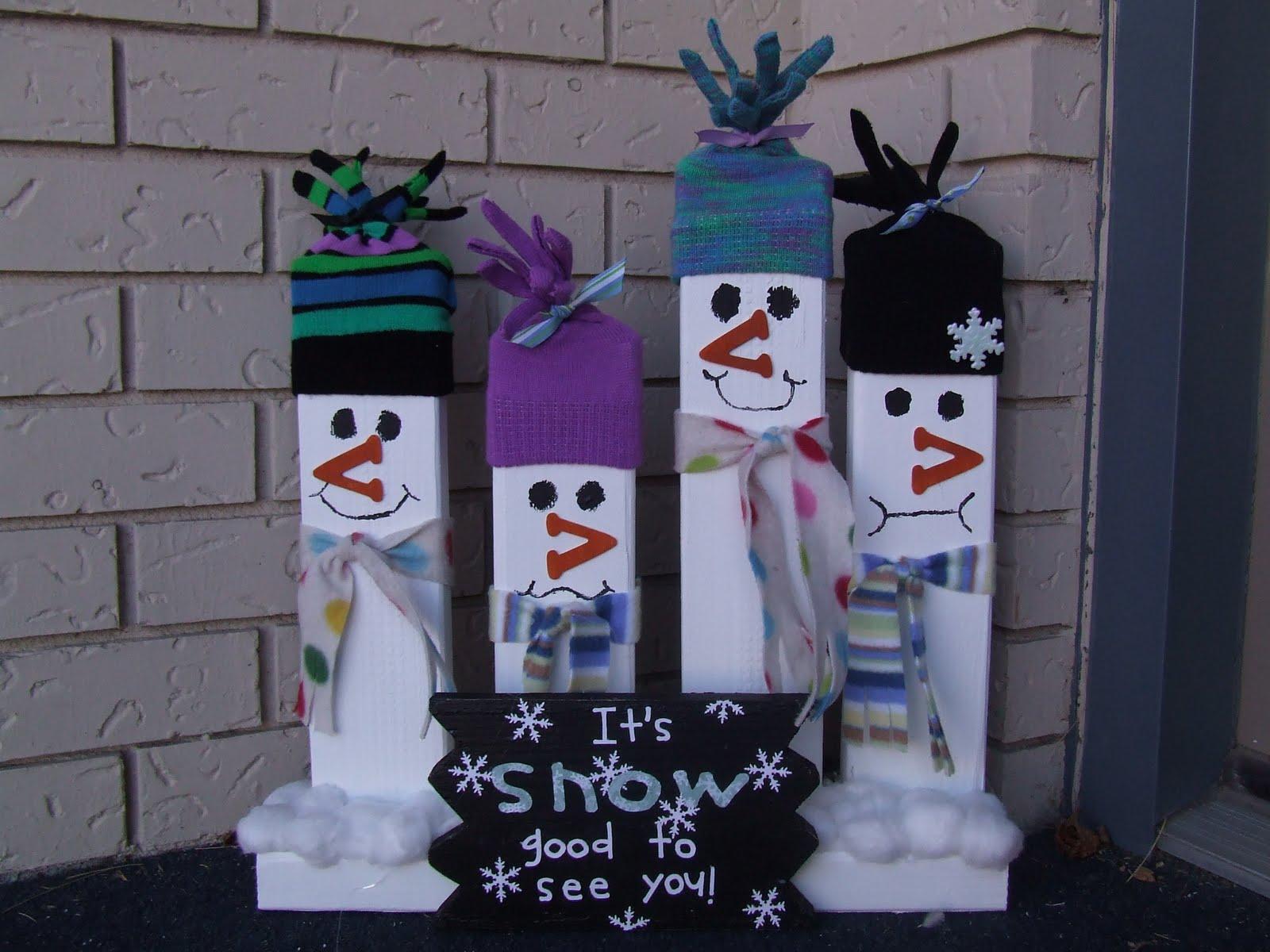 Snowmen Faces Painted Wood