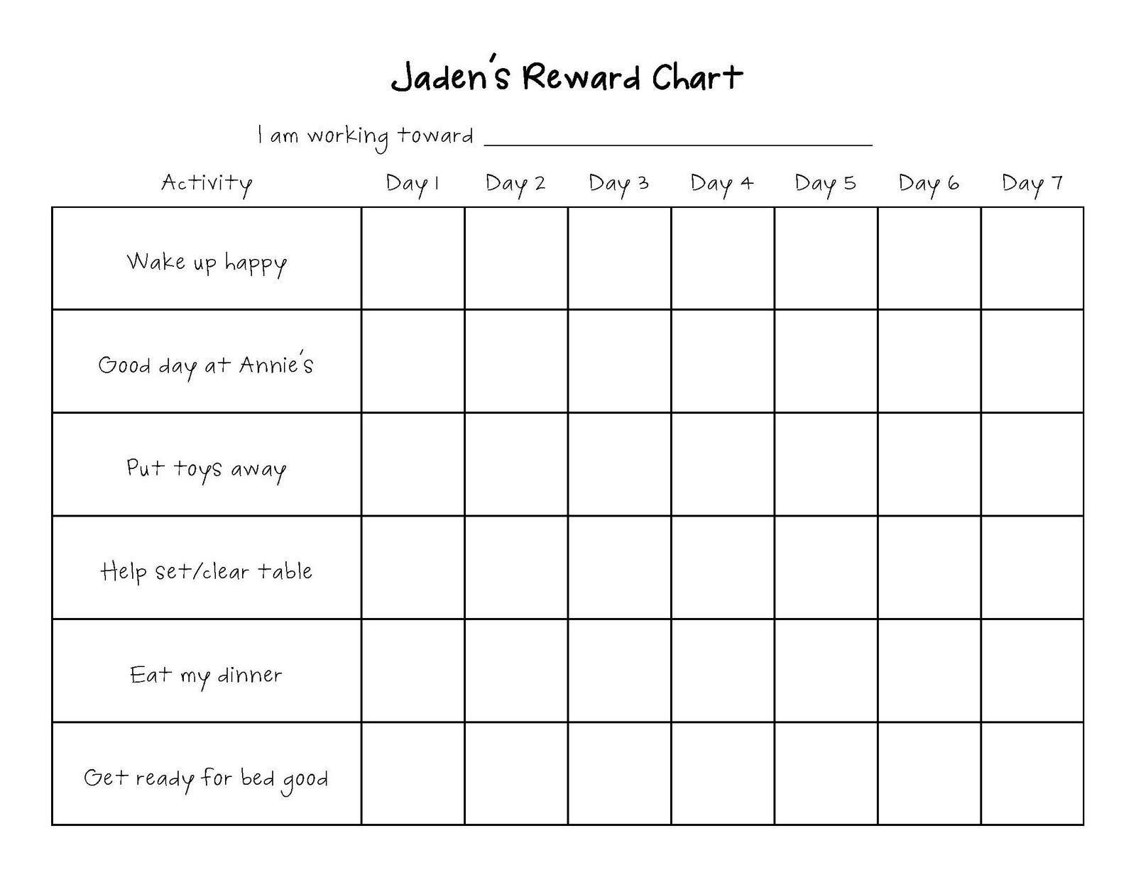 Blank Reward Chart Template best photos of blank reward charts – Blank Reward Chart