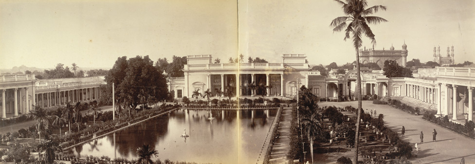 HH the Nizam's Chowmahela Palace, Hyderabad; a photo by Lala Deen Dayal, 1880's