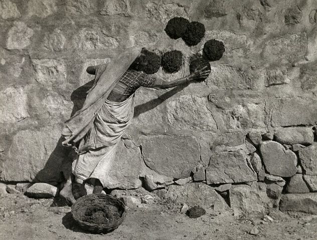 A woman presses animal dung onto a stone wall