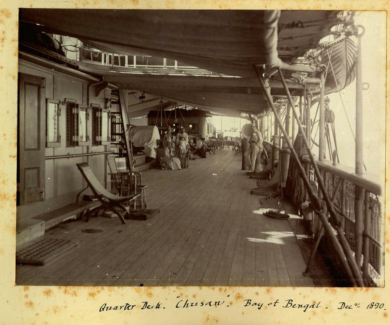 Passengers on the Quarter Deck, SS Chusan, in the Bay of Bengal, December 1890