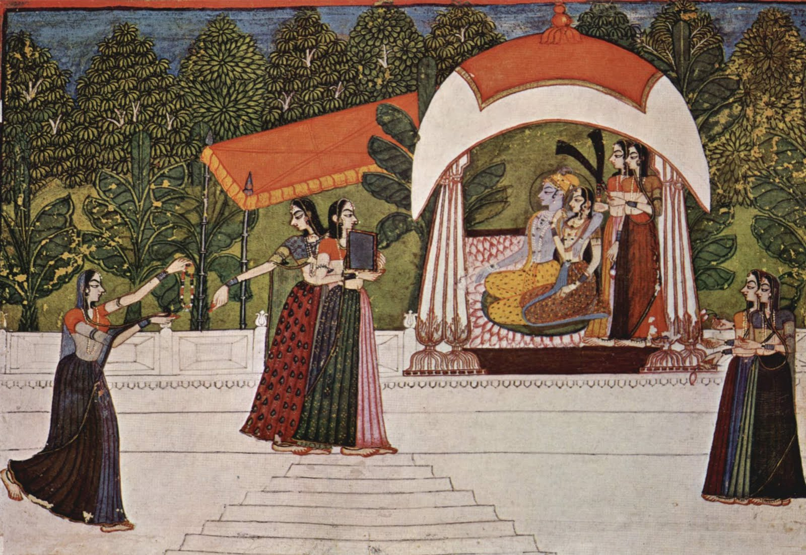 Radha Krishna - Rajput Painting by Nihal Chand ca. 1750
