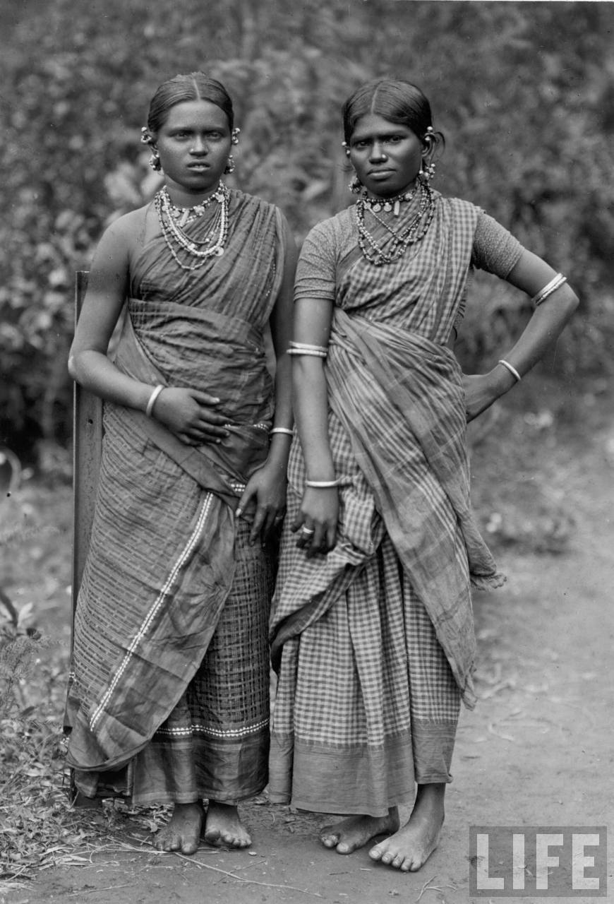 Two Indian women dressed in saris - 1940