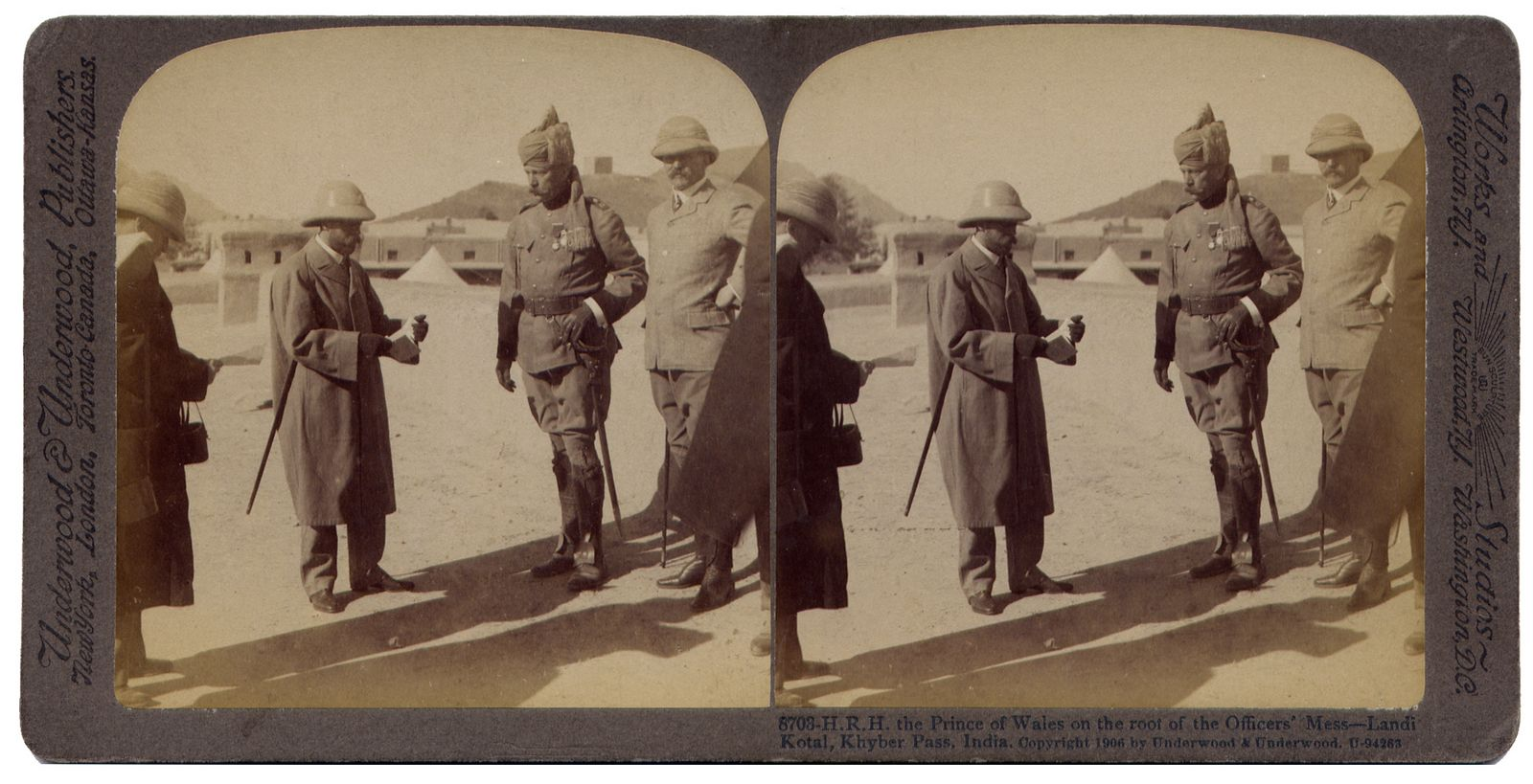 The Prince of Wales on the roof of the Officers' Mess  Landi Kotal Khyber Pass