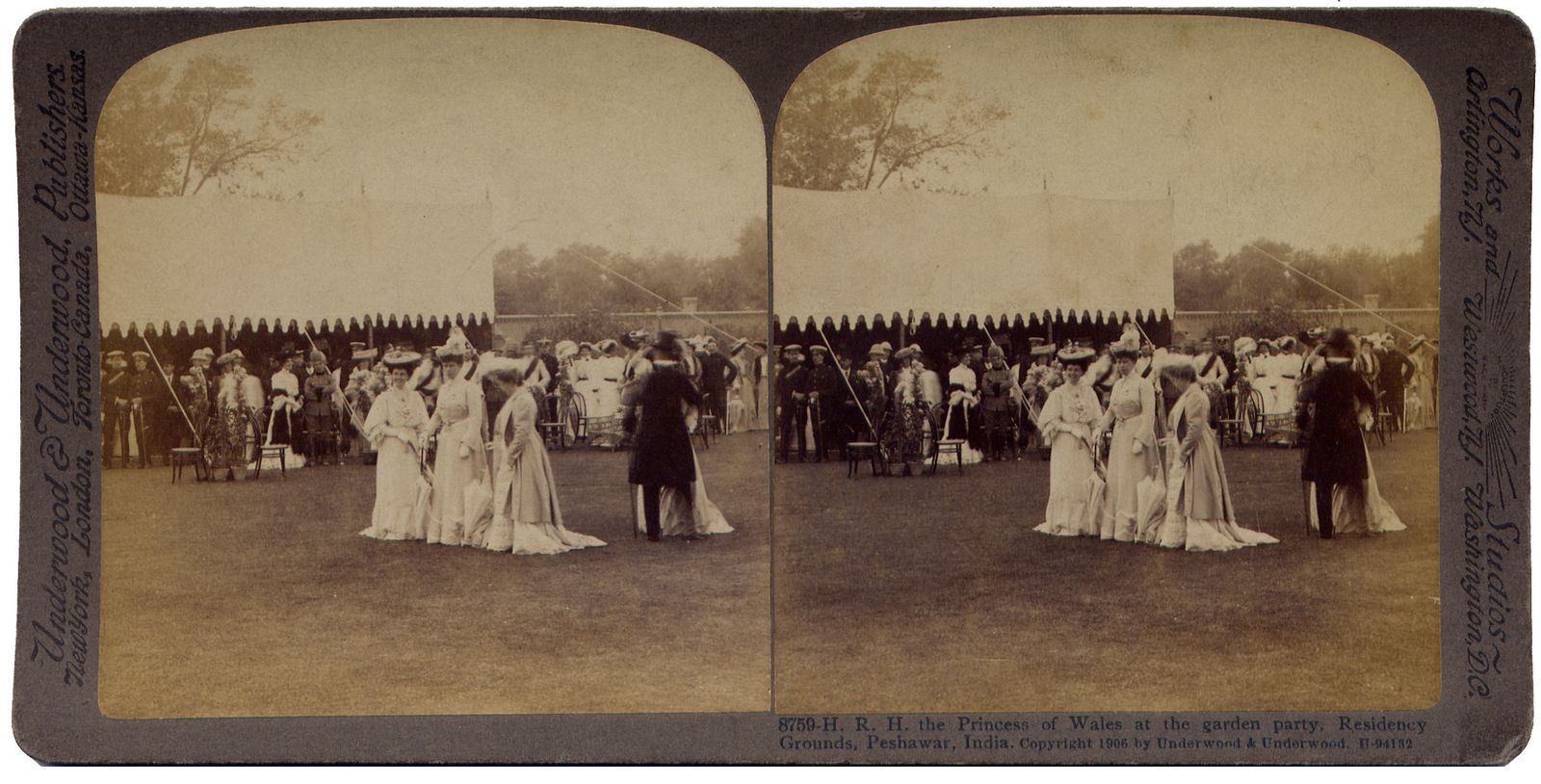 The Princess of Wales at the garden party. Residency Grounds, Peshawar, Modern Pakistan