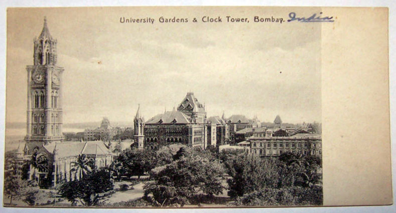University Gardens and Clock Tower - Bombay (Mumbai) - 1910