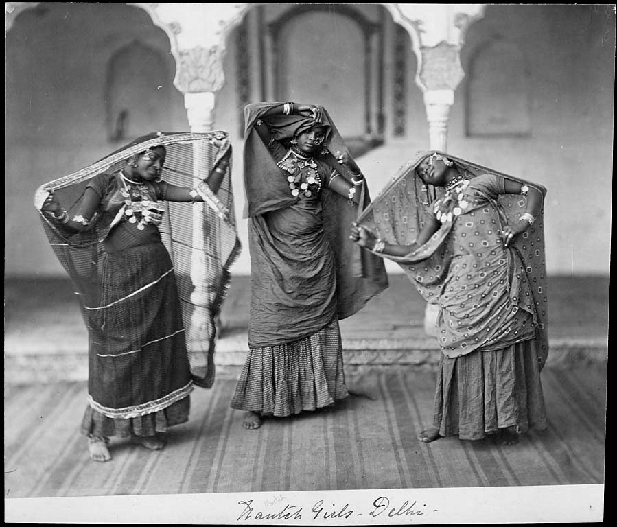 Three Nautch Girls in Costume, Dancing - Charles Shepherd 1862