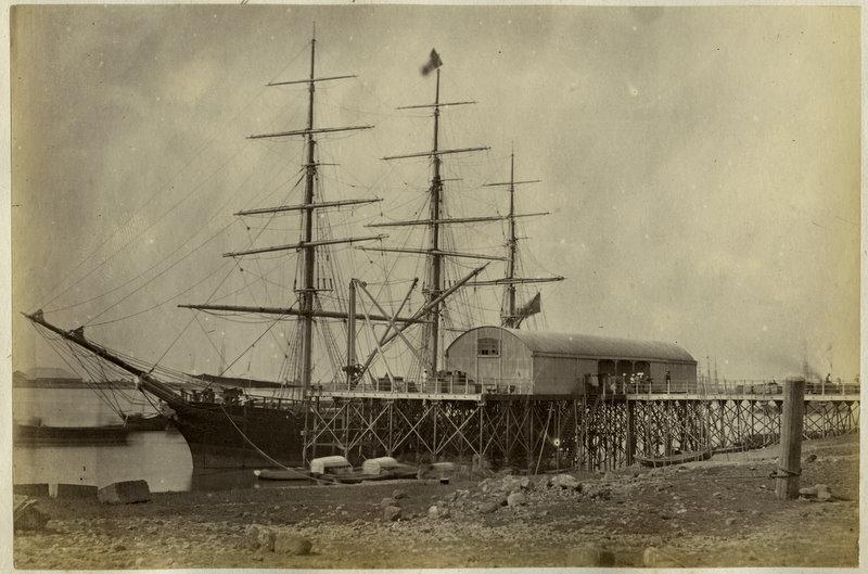 Vintage Photograph of a Ship - Rangoon, Burma (Yangon, Myanmar) - 1870's