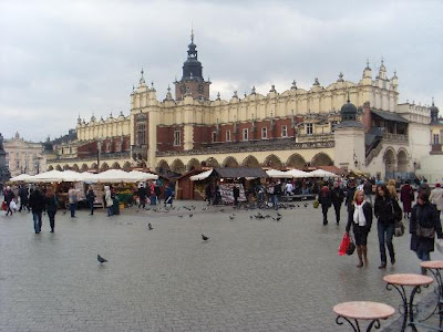 The main square of Krakow, Poland.