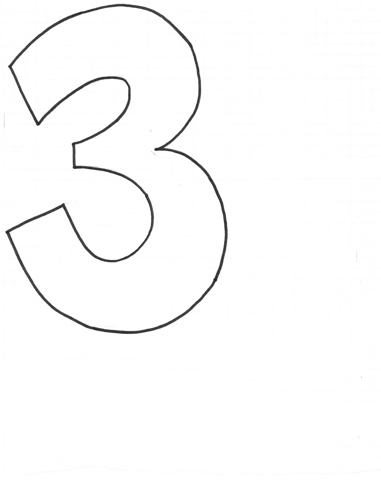 number 3 cake template - create studio beanbag numbers templates
