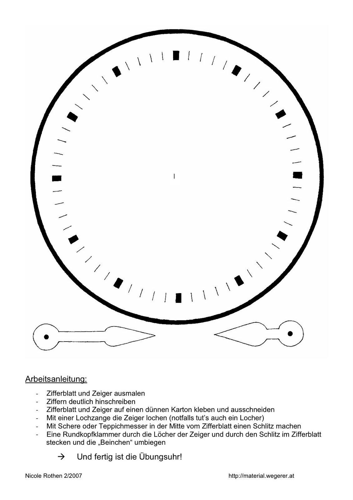 Malvorlage Zifferblatt Uhr  Coloring and Malvorlagan