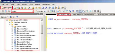 Experience with recovering a CRM database marked as SUSPECT