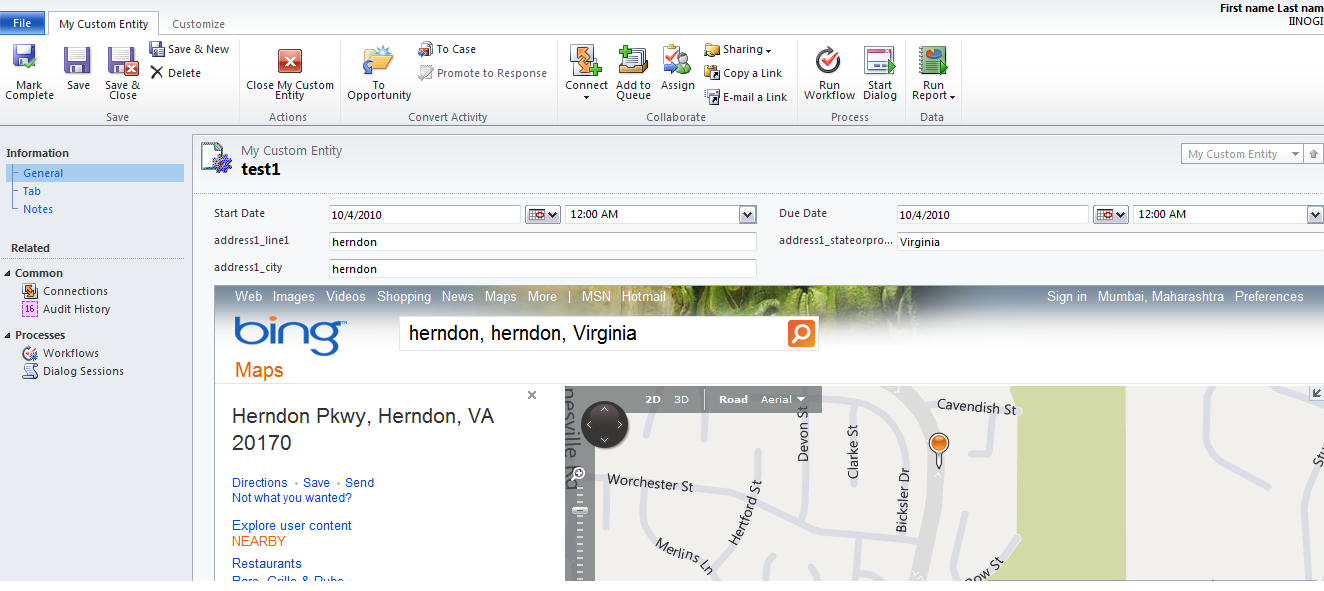 How to Show address using Bing Map in CRM 2011? | Microsoft Dynamics