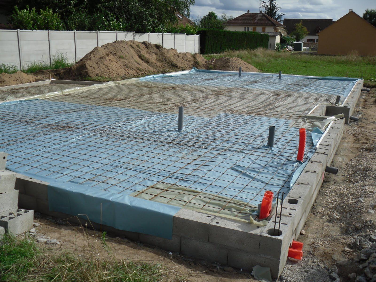Construction de notre maison pr paration avant coulage de for Dalle de beton pour maison