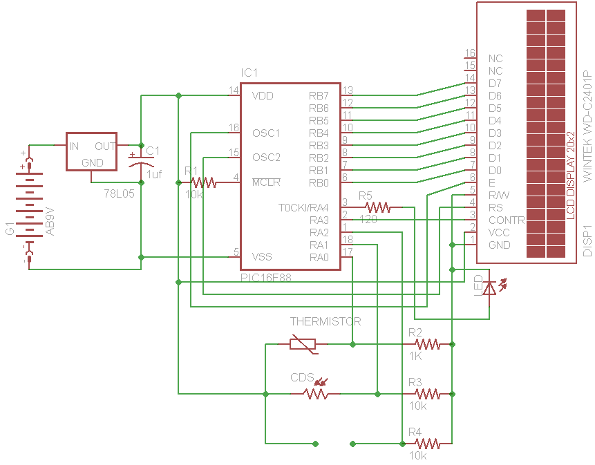 Pleasant Deepaks Microcontroller Projects Pic 16F88 Digital Thermometer Wiring Cloud Staixuggs Outletorg