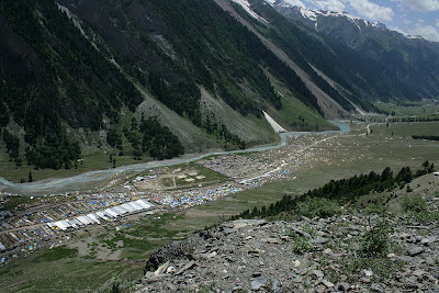 View of the congregation of Amarnath yatra route in India's Jammu & Kashmir state