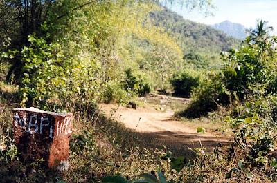 A stone mark of Mangalore Bangalore Pipeline (MBPL) Dakshina Kannada Neriya forests