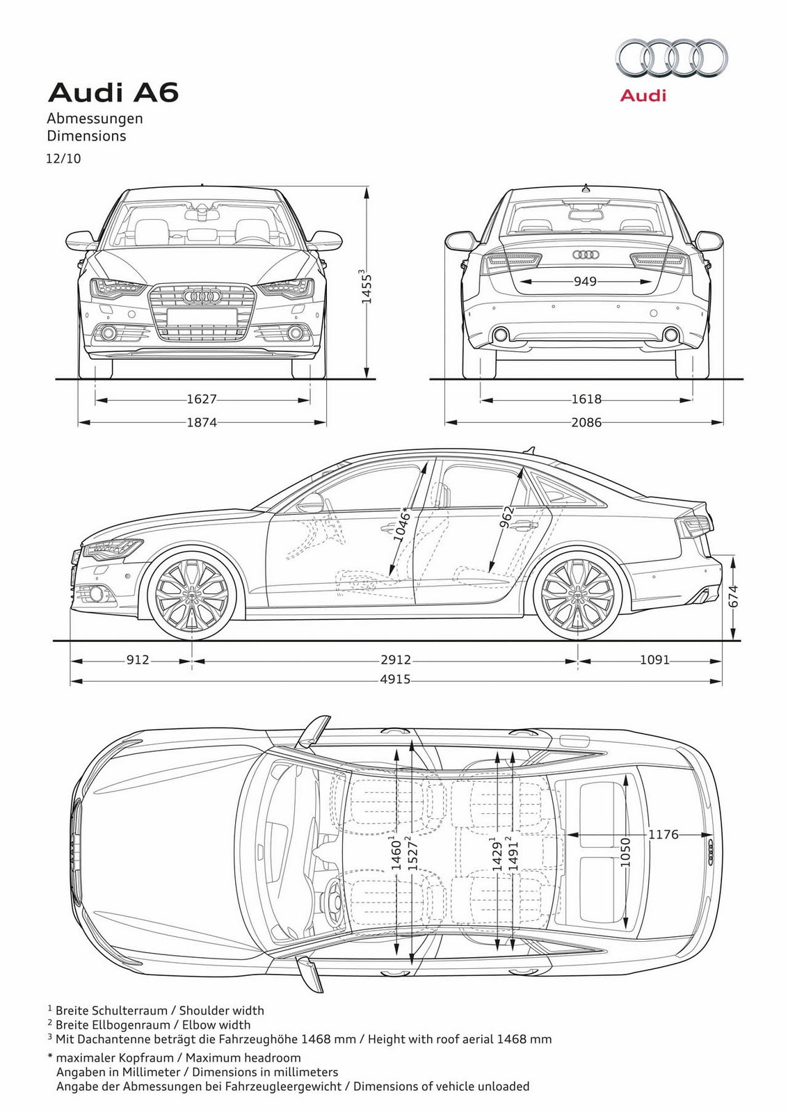 small resolution of 2012 audi a6 car dimension