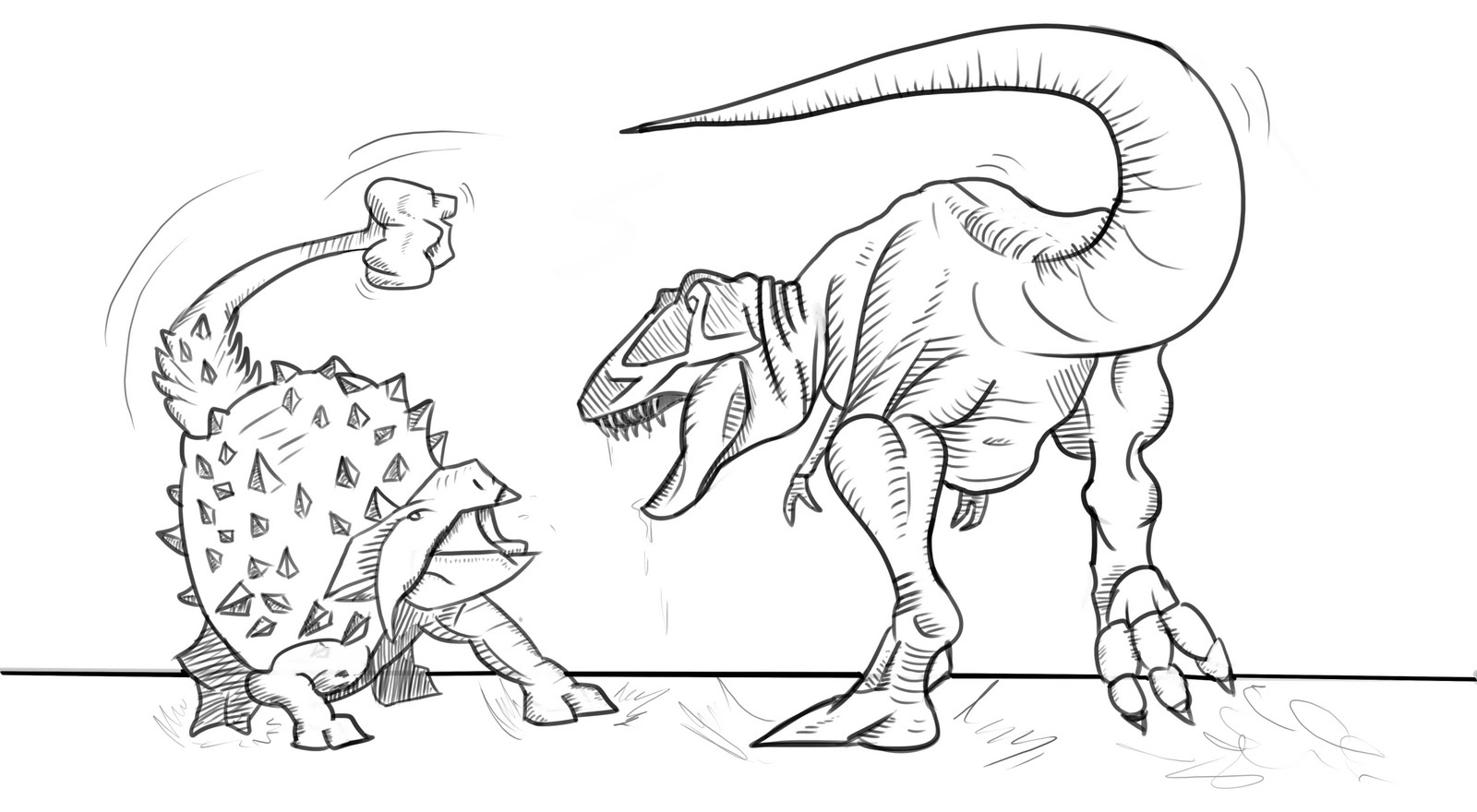coloring pages dinosaurs online fighting | Ashley's Art Dump: Dinosaur sketch