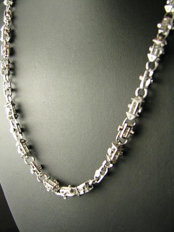 New York Jewels 14k White Gold Diamond Bullet Link Chain