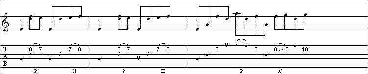 Hammer-on lick with slides