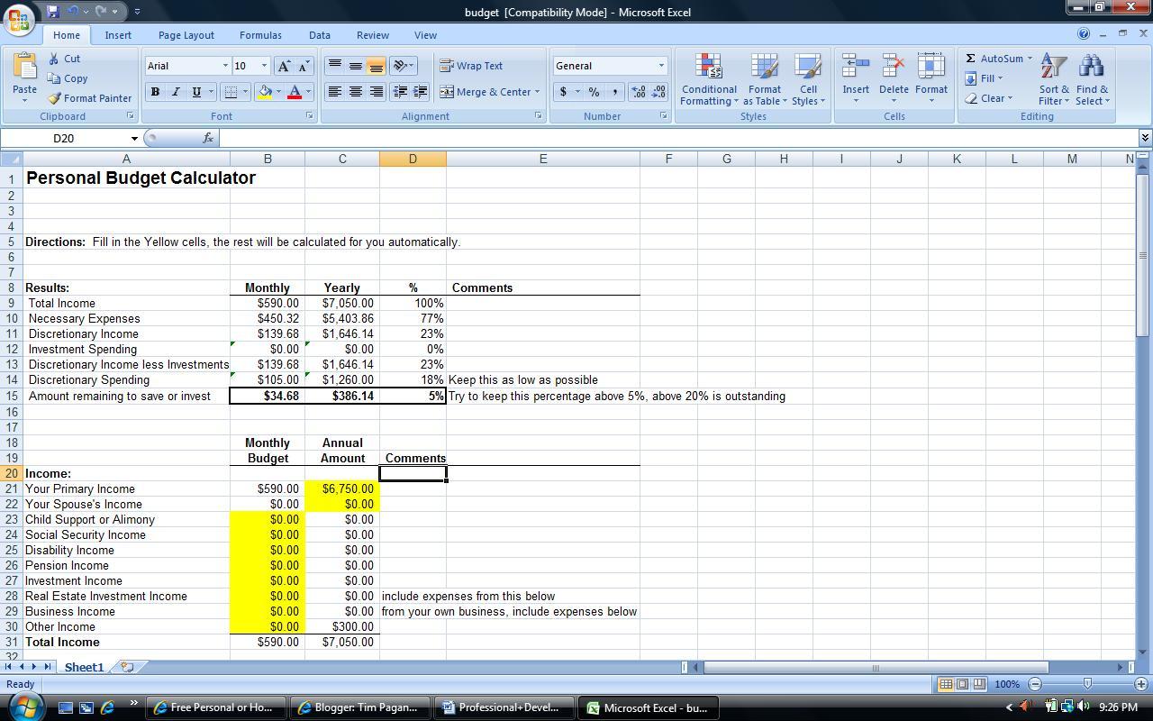 Tim Pagano S W200 Blog Professional Development Plan Evidence Excel Budget