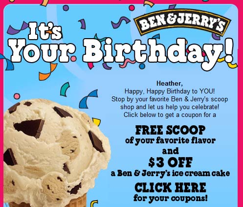 photograph regarding Ben and Jerry's Printable Coupons named Ben Jerrys Absolutely free Birthday Scoop