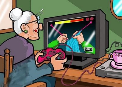 toon-granny-playing-video-game-knitting