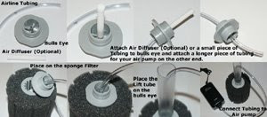 Sponge Filter, air pump installation diagram
