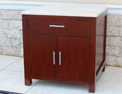 Bed Side Table And Drawers Mahogany Teak Wicker