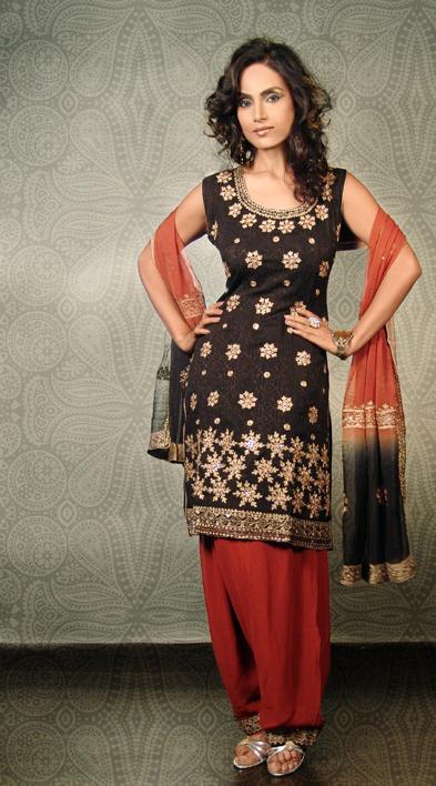 Red And Black Salwar Kameez Indian Party Dress 2010