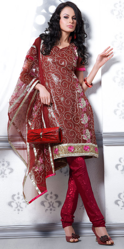 a802b93141 Red Churidar Pajama Dress - Indian Churidar Pajama, Wedding Suit ~ Ladies  Fashion Style
