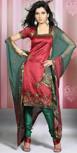 c52e5b8e18 This fabulous red and green shade churidar set with exquisite designs and  patterns. The gorgeous designs adorning the kameez is embellished with  sequins, ...