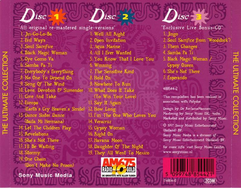 Santana The Ultimate Collection: Catálogo Musical (Música En Inglés) Discos De Colección