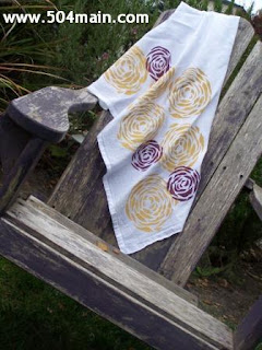 Stencilled kitchen towels by Holly Lefevre